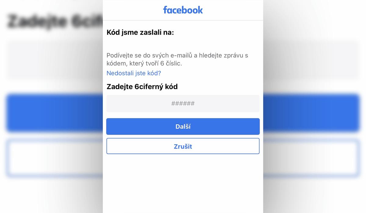 Facebook - ověřovací kód