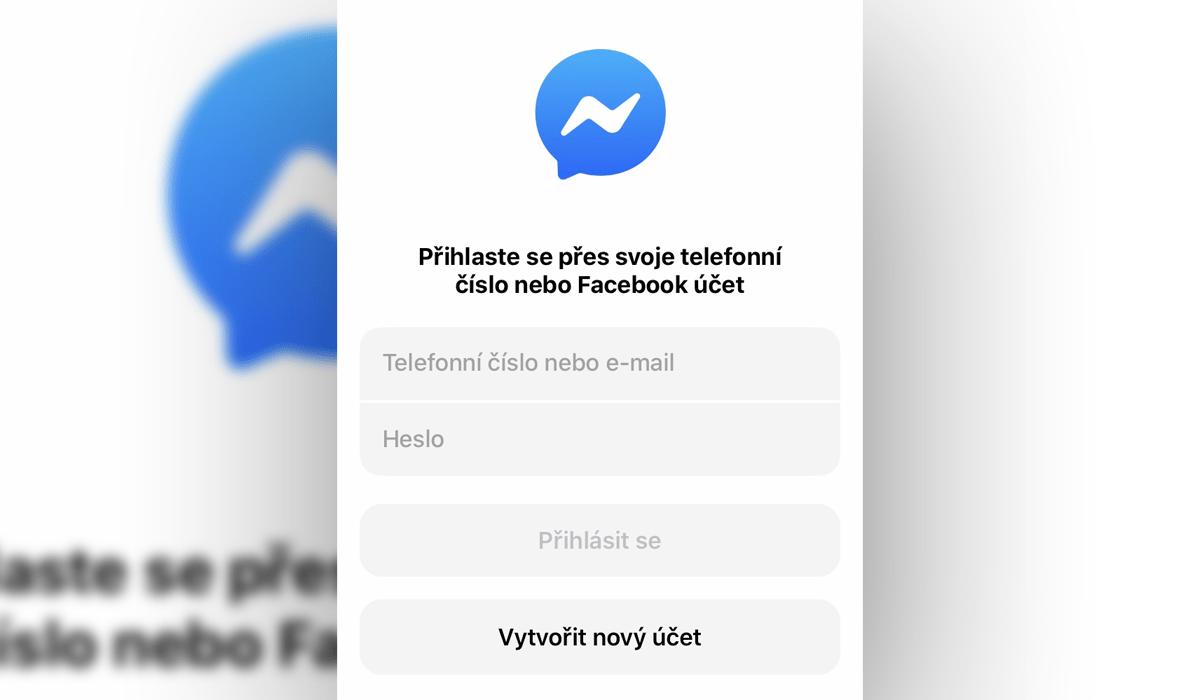 Messenger - přihlášení